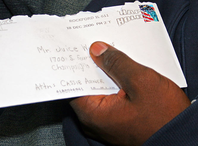 "Ah, the life of a big-time athlete. Williams gets fan mail at his home address, his dorm, and the Illinois athletic department. He says he always tries to respond to requests for autographs. ""I usually get one or two letters a day, so I collect them, then every two weeks I sign them all and send them all back,"" he says."