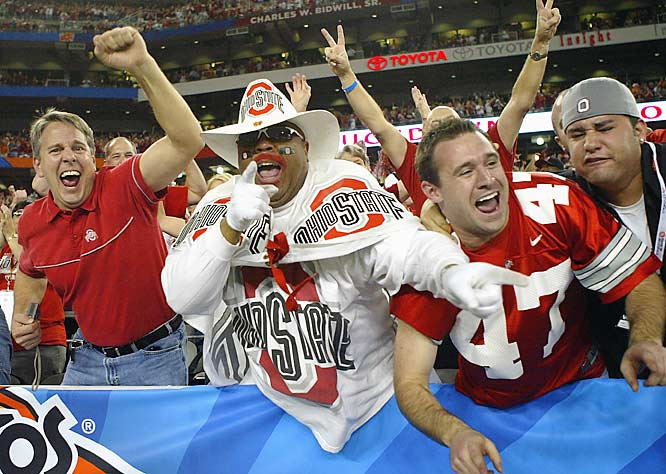This Buckeye fan was in the mood to party, but didn't have much to celebrate after the Gators route of OSU.
