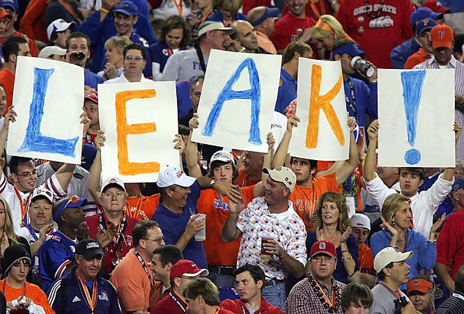 "Florida fans hold up a sign spelling out ""Leak"" during the second quarter of the BCS Championship game. Leak threw for 213 yards and a touchdown in the Gators 41-14 route of Ohio State."