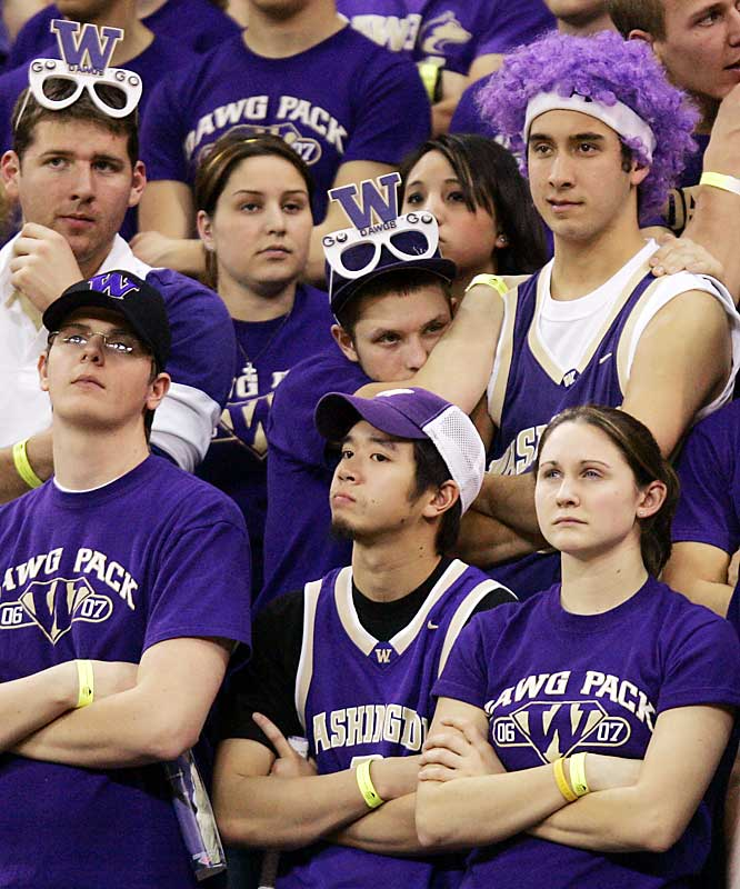 Not the happiest time for Washington fans as they watch the Huskies fall to Arizona, 96-87, in Seattle on Thursday.