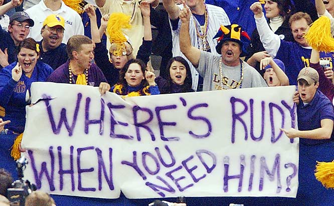These LSU fans rub a little salt into the would of Notre Dame fans by asking the legendary Rudy Ruettiger to make an appearance in the Sugar Bowl. The Tigers beat the Fighting Irish 41-14.