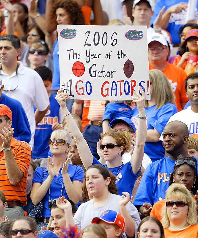 Florida fans celebrate the football and basketball national championships during a celebration at Ben Hill Griffin Stadium on Saturday.