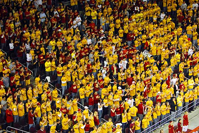 The USC student body section cheers during the Trojans matchup against Pac-10 rival UCLA on Saturday. The Bruins would hold on for a tight 65-64 victory.