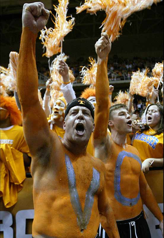 Yes, that is Tennessee men's basketball coach Bruce Pearl yelling in the student section before the Lady Vols college basketball game against Duke on Monday.