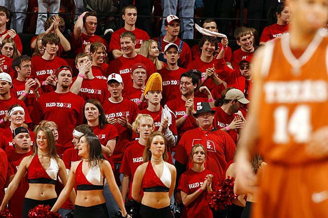 Nebraska fans and cheerleaders nervously watch the last two minutes of Texas' one-point victory over the Huskers.