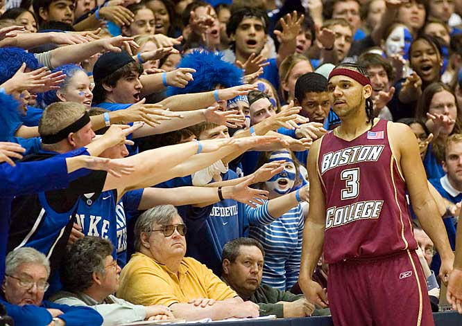 The Cameron Crazies taunt Boston College  forward Jared Dudley during a game at Cameron Indoor Stadium on Sunday.