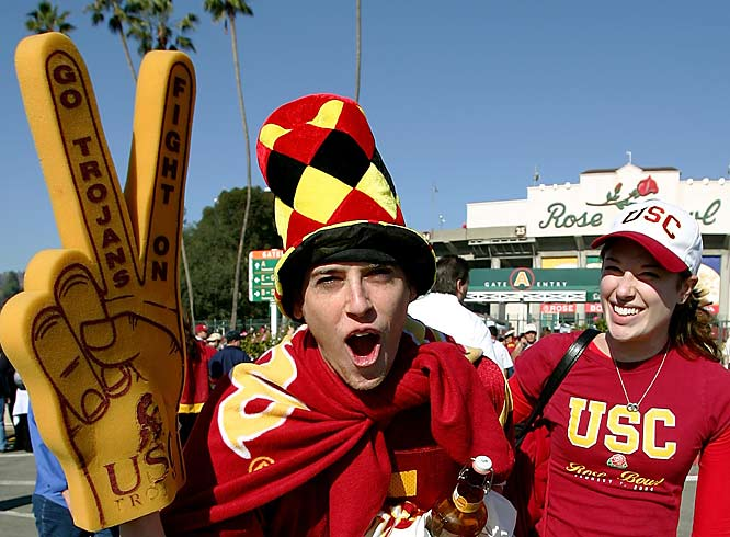 USC  fans celebrate after the Trojans' 32-18 Rose Bowl victory over Michigan.