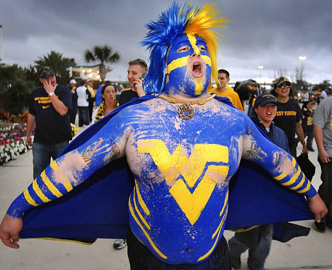 This West Virginia fan went all out for the Mountaineers' Gator Bowl showdown with Georgia Tech.