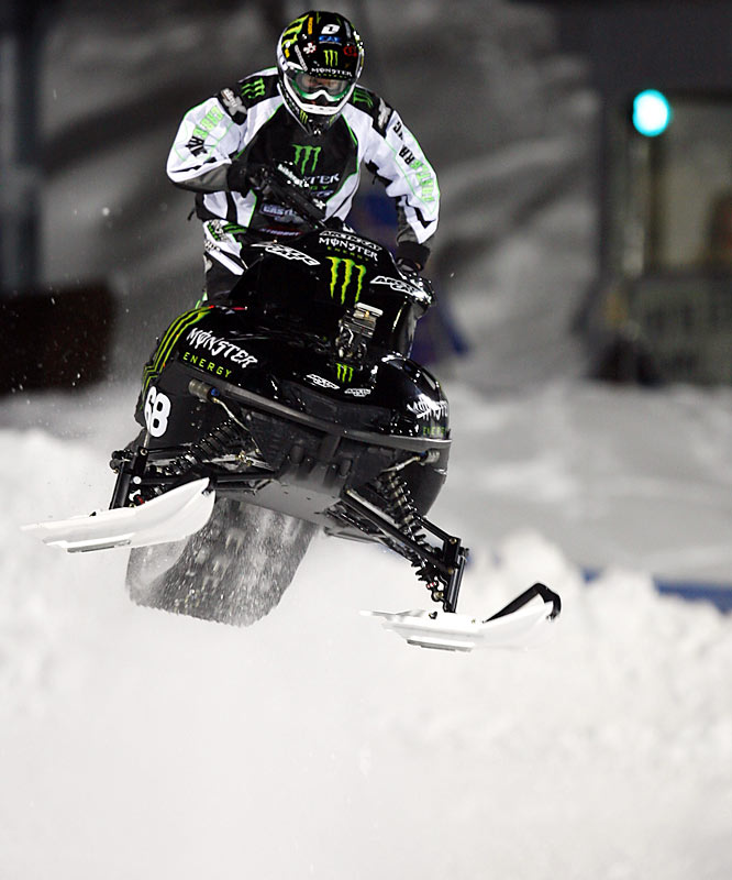 On the 18th lap of the snocross race - the longest in X Games history - Hibbert's ride almost ran out of gas before he took first place.
