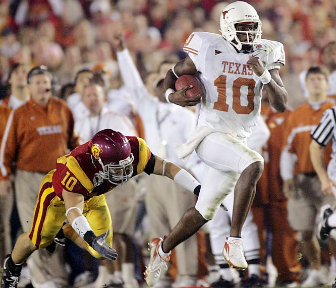 For the second straight year, Texas QB Vince Young put on a show in Pasadena. Young ran for 200 yards and three touchdowns and threw for an additional 267 yards. With just over two minutes left, Young guided Texas on a 10-play, 56-yard scoring drive. He capped off the drive by running for an eight-yard touchdown on fourth-and-five. Young and the 'Horns ended a 34-game winning streak for USC.