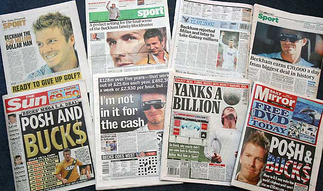 The British newspapers had similar reactions to the news that David Beckham is coming to the U.S.