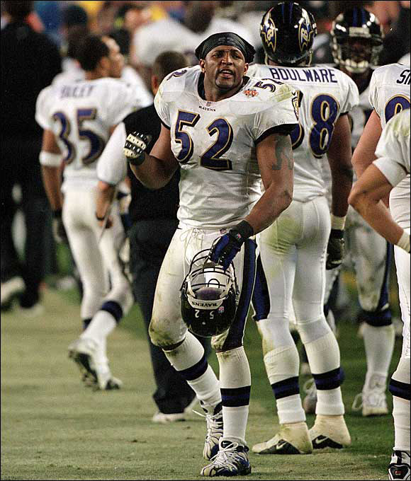 The previous year, Ravens LB Ray Lewis was arrested in a case involving the stabbing of two men at an Atlanta nightclub after Super Bowl XXXIV. Murder charges were dropped, but Lewis was convicted of obstructing justice. That turned his appearance in Super Bowl XXXV into a morality play. Widely perceived as a villain, Lewis won game MVP honors in Baltimore's 34-7 dismantling of the Giants.