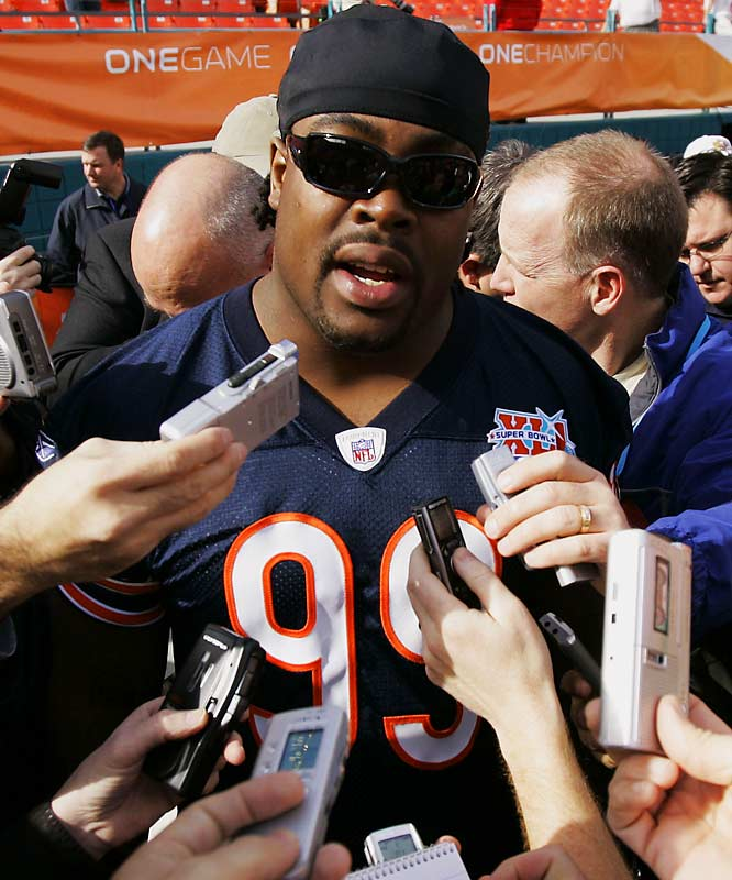 Johnson was arrested for the third time in 18 months on Dec. 14, 2006, after police raided his home and found six unregistered firearms, including two assault rifles. The Bears suspended Johnson for one game, but he started in the Super Bowl after a judge granted him permission to leave the state of Illinois for the game. Johnson made five tackles and 1/2 sack in the loss to Indianapolis. In the offseason, NFL commissioner Roger Goodell suspended Johnson for the first eight games of 2008.