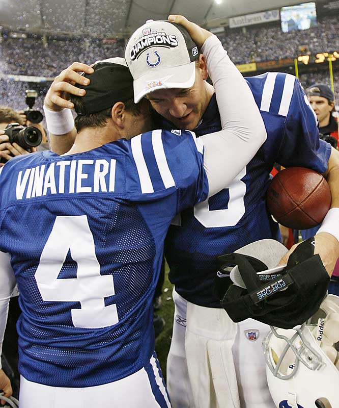 Adam Vinatieri's three field goals helped keep the Colts in the game.