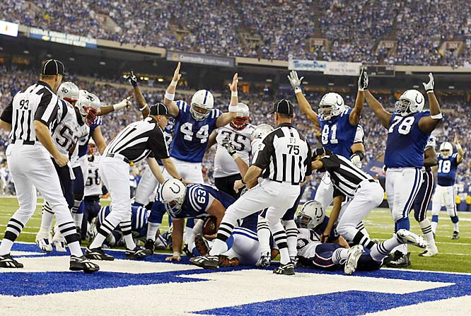Lineman Jeff  Saturday (63) scored by jumping on a Dominic Rhodes fumble near the goal line early in the fourth quarter.
