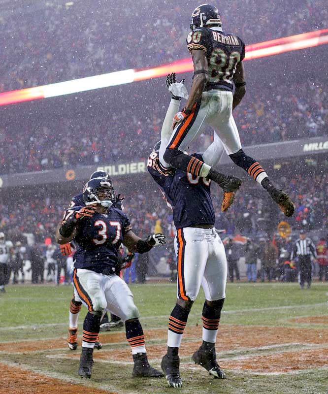 Bears wide receiver Bernard Berrian gets a lift after his 33-yard touchdown catch helped ensure Chicago's second trip to the Super Bowl.