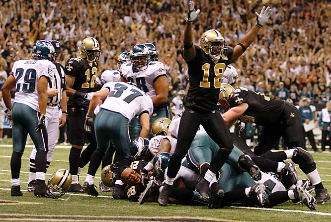 Deuce McAllister rushed for 143 yards on 21 carries against Philadelphia, including this five-yard touchdown run in the third quarter.