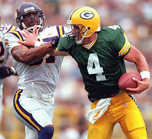 Facing fourth-and-one with no timeouts and only seconds remaining, Favre threw a 23-yard touchdown pass to Corey Bradford to give the Packers a 23-20 win over bitter divisional rival Minnesota.