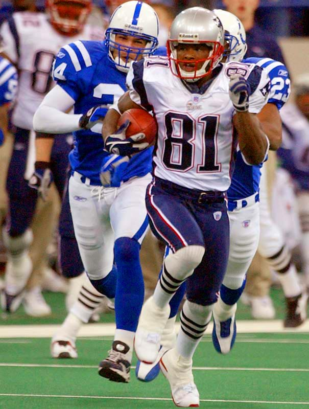 The Pats' withstood a four-touchdown performance by Manning to hold on for a close win. New England's Bethel Johnson had a 92-yard kick return for a touchdown to end the first half and a 67-yard return in the fourth quarter that changed the tide of the game.