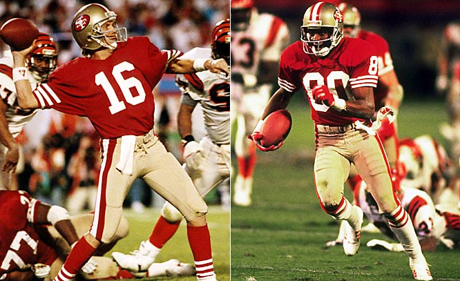 Jerry Rice played the part of an MVP hero, hauling in 11 balls for a Super Bowl-record 215 yards and one TD. But Joe Montana emerged as the game's true immortal, rallying the 49ers -- down 16-13 to the Bengals with less than four minutes left -- to a decisive 92-yard scoring drive that gave San Francisco its third world championship.