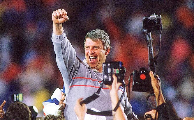 Coach Bill Parcells of the New York Giants celebrating a victory over the Denver Broncos in Super Bowl XXI.