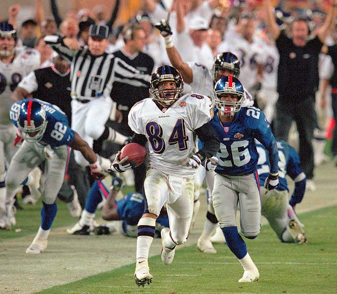 Baltimore Ravens Jermaine Lewis (84) ran this kickoff back  for a touchdown against the New York Giants in Super Bowl XXXV. The Ravens won  34-7.