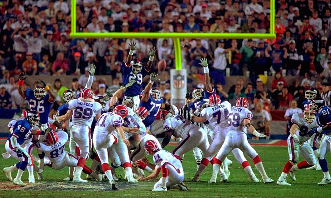 Buffalo Bills kicker Scott Norwood missing what would have been the game-winning field goal in Super Bowl XXV, Jan. 27, 1991, in Tampa.