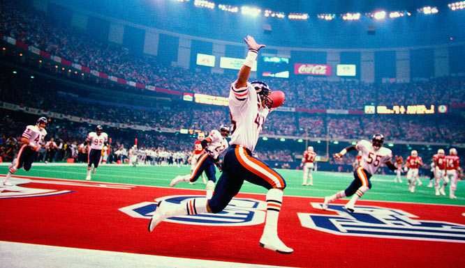 Chicago's Reggie Phillips celebrating in the end zone after returning an interception 26 yards for a touchdown against the New England Patriots in Super Bowl XX.