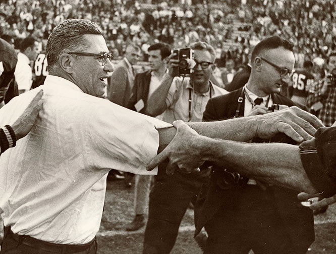 Green Bay Coach Vince Lombardi celebrates after Super Bowl I is over. Jan. 15, 1967. Los Angeles, CA.