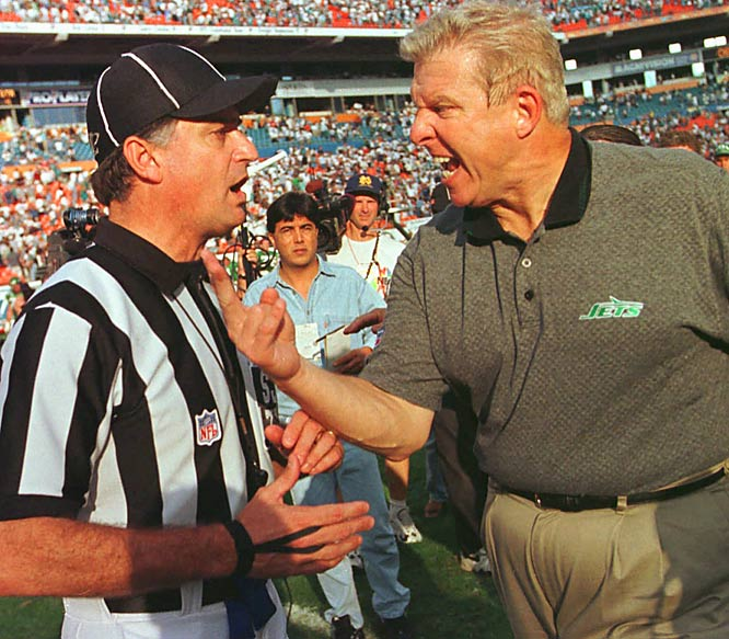 An angry Parcells expresses his displeasure with side judge Mike Pereira during a Nov. 1997 game against Miami.