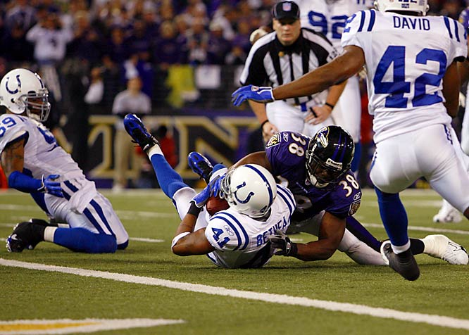 The Howard grad leads the Colts with two playoff interceptions, including what may have been the play of the game against Baltimore, when he picked off Steve McNair at the 1.