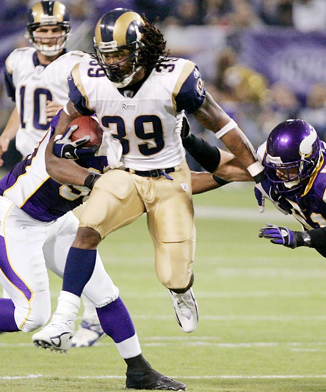 Steven Jackson had a career-high four touchdowns and 142 yards rushing against Minnesota.  He finished the season with 1,528 yards rushing and led all NFL running backs with 806 yards receiving.