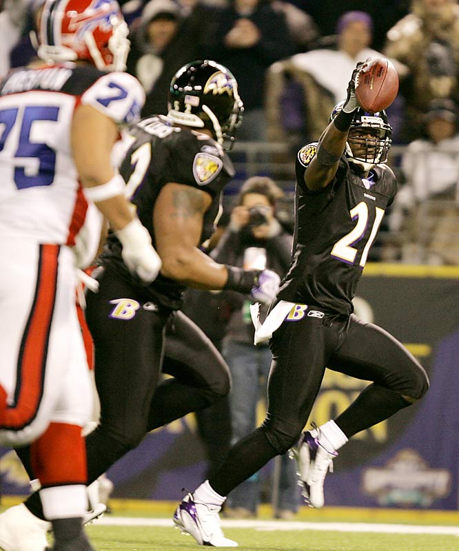 Cornerback Chris McAlister returns an interception 31 yards to score the Ravens' only touchdown.  The win earned Baltimore a first-round bye in the playoffs.