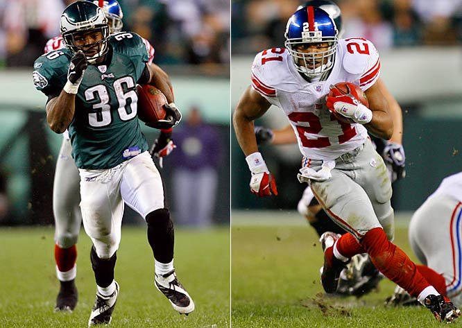 137 ... The Eagles-Giants game was the first in NFL history in which running backs from both teams rushed for 137 yards or more. Brian Westbrook ran for 141 last week, and Tiki Barber 137.