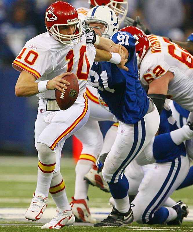 7 ... The Chiefs seven first downs in a 23-8 loss to the Colts were the fewest ever in a wild-card game and equaled the third-fewest in playoff history. If not for a 12-yard pass from Trent Green to Michael Bennett with 4:26 left,  the Chiefs would have tied the record.