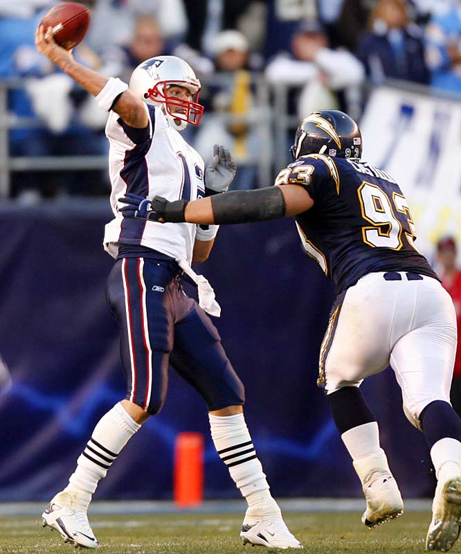 1.46 ... Tom Brady fell from the top spot in the record book for best career postseason interception ratio when he threw three interceptions against the Chargers. His is now 1.77 and trails Bart Starr's 1.46.