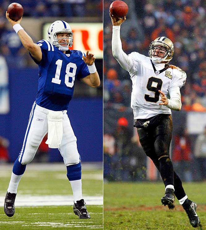 349 ... Drew Brees passed for 349 yards Sunday and Peyton Manning of the Colts passed for 354. This is the first time a quarterback in each conference championship game has thrown for 349 or more yards.