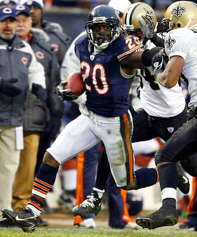 123 ... Bears running back Thomas Jones needed just 19 carries to gain 123 yards against the Saints. That's the fewest carries by a running back rushing for 123 or more yards in a conference championship game in 43 years, since Keith Lincoln of the Chargers was 13-for-206 in the 1963 AFL Championship Game.