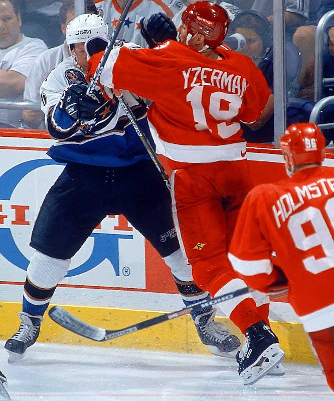 "The Captain could give as good as he got. Taking on Washington in the 1998 Stanley Cup final, Yzerman endured a ""face wash"" in Game 1, but would not back down, as Capitals defender Phil Housley discovered."