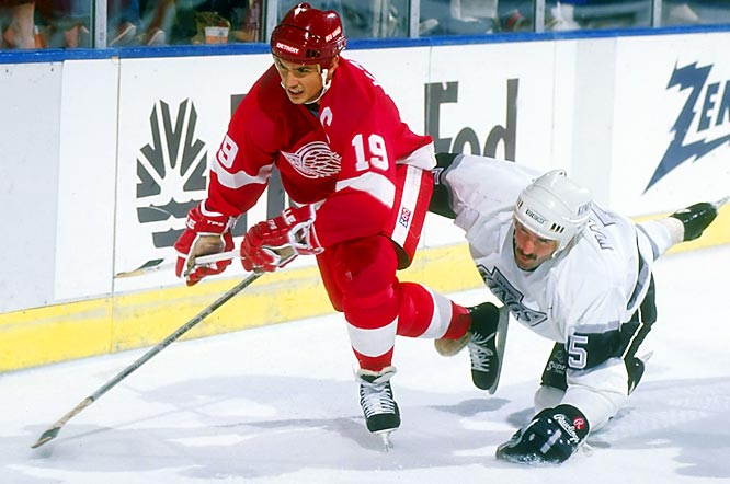 Yzerman quickly accumulated honors, including the first of his 10 All-Star Game appearances and the 1989 Lester B. Pearson Award as the NHL's top player. The slick center scored 155 points that season, including 65 goals, his 50th coming in his 55th game, the quickest to that total in franchise history. Yzerman  topped 100 points each season from 1987 to 1993.