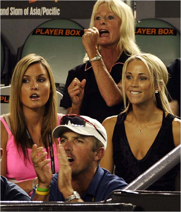 And Lleyton Hewitt's wife, Bec (right), might be the best reason to watch the Australian Open.