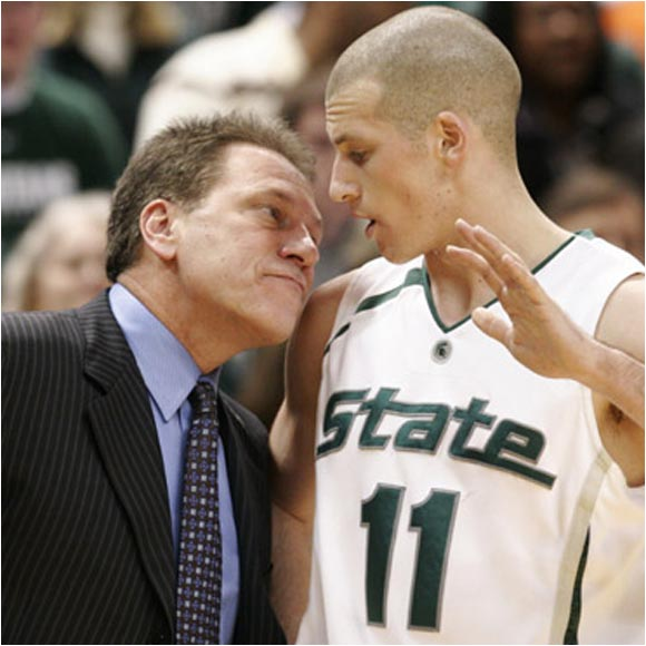 Michigan State G Drew Neitzel isn't happy that coach Tom Izzo wants to check his breath during a game.