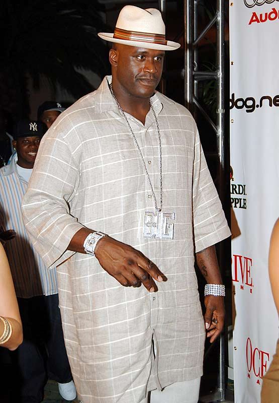 Shaquille O'Neal is styling in this all-white ensemble during Jamie Foxx's Ocean Drive Magazine's Music party last February.