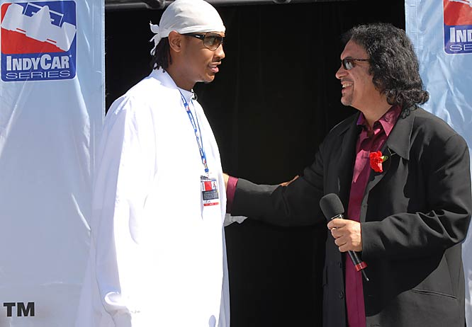 Carmelo Anthony joins Gene Simmons to officially start the Toyota Indy 300 race last March 26 in Homestead, Fla.