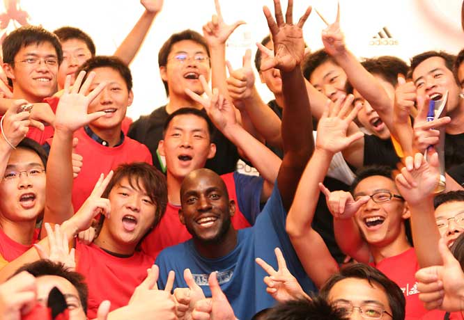 Kevin Garnett shows that his popularity extends well beyond the Twin Cities. Garnett was part of a promotional tour to Shanghai where the NBA's popularity is stronger than ever.