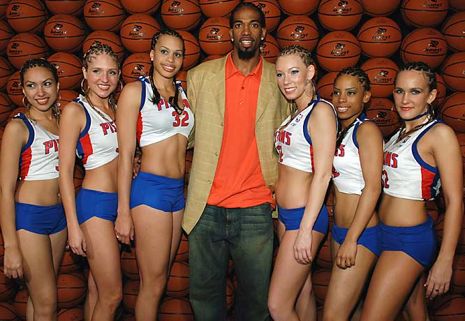 "Rip Hamilton looks like a happy man as he is flocked by the Boost Mobile ""Rip"" Girls at the NBA All-Star Game Party in Houston last February."