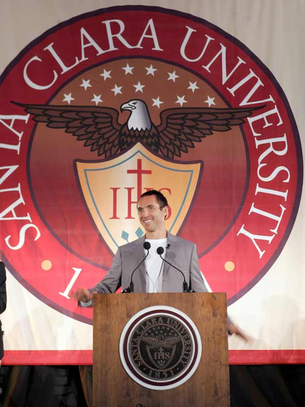 Steve Nash shows that he can do more than dribble as he addresses the crowd at his alma mater, Santa Clara University, in September.