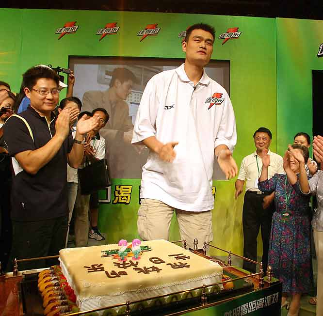 Yao Ming celebrates his 26th birthday while attending a promotional event in Shanghai in September.