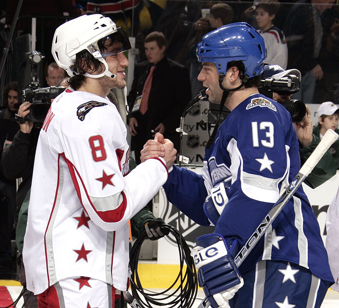 Alex Ovechkin (left) and Bill Guerin shake hands after the All-Star Game, which saw 21 goals scored -- third most all time.