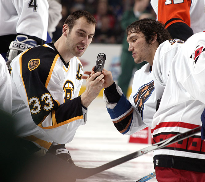Say cheese! Zdeno Chara (left) and Alex Ovechkin ham it up during the skills competition.